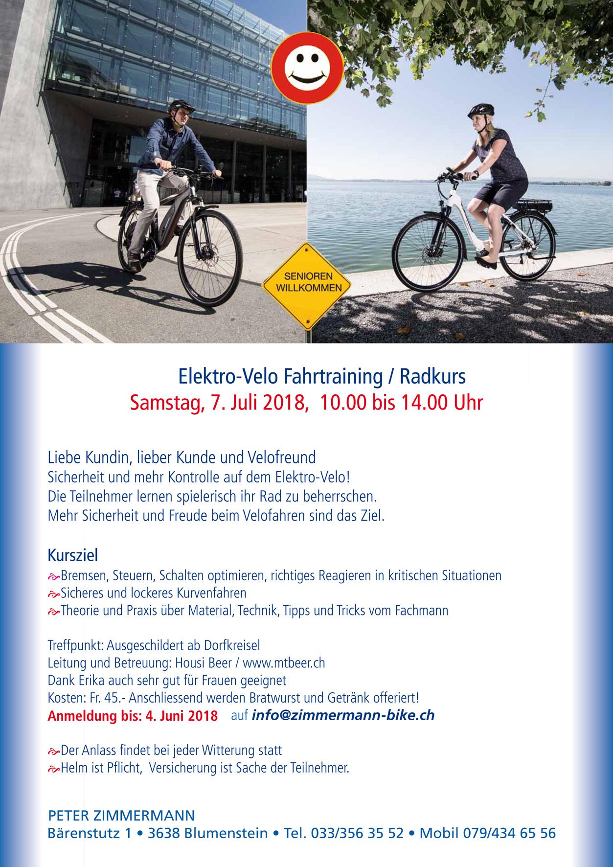 Elektro-Velo Fahrtrainingskurs | Zimmermann Bike Blumenstein